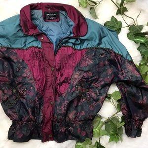Vintage Puffer Bomber Jacket Floral Boho